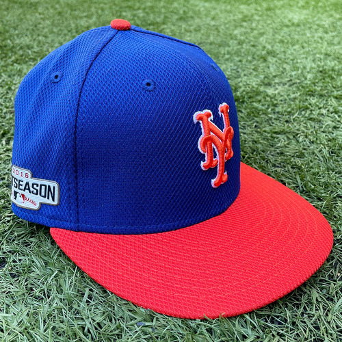 Photo of Kevin Long #57 - Game Used 2016 Postseason Hat - Batting Practice - Mets vs. Giants - 10/5/16