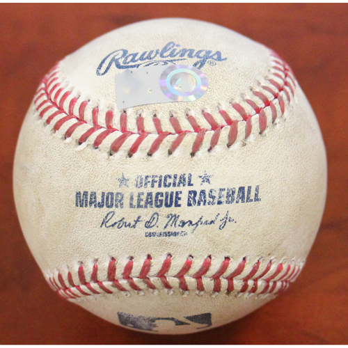 Photo of Game-Used Baseball: Pitcher - Sergio Romo | Batter - Justin Turner RBI Double (2) - Top 7 - 4/7/21 vs Dodgers