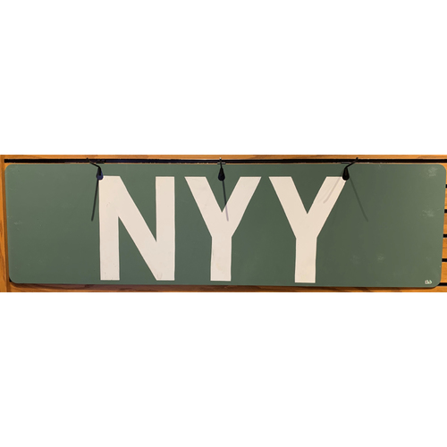 Photo of Texas Rangers at Boson Red Sox August 20, 2021 Game Used New York Yankees Out of Town Scoreboard Sign