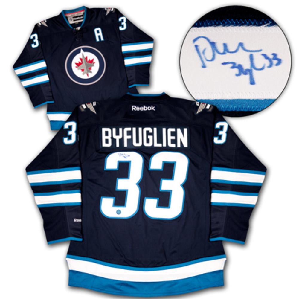 DUSTIN BYFUGLIEN Winnipeg Jets SIGNED 2011 Reebok Premier Hockey Jersey