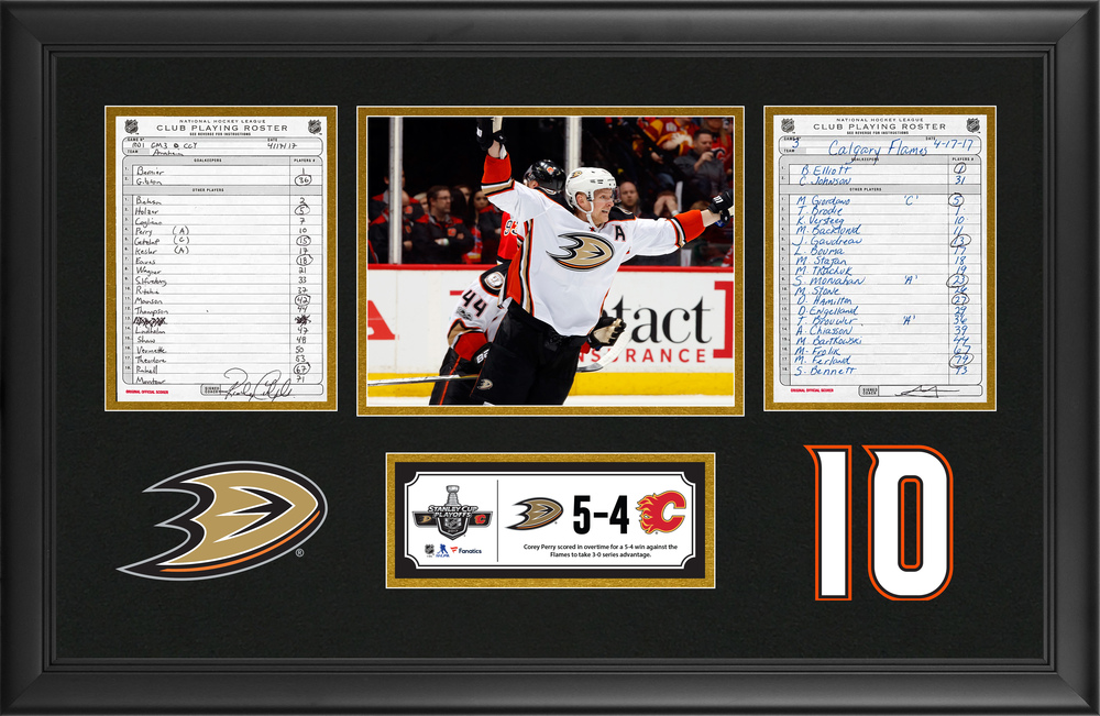 31108d568 Anaheim Ducks Framed Original Line-Up Cards From April 17, 2017 vs. Calgary  Flames - Corey Perry Scores Overtime Game-Winning-Goal