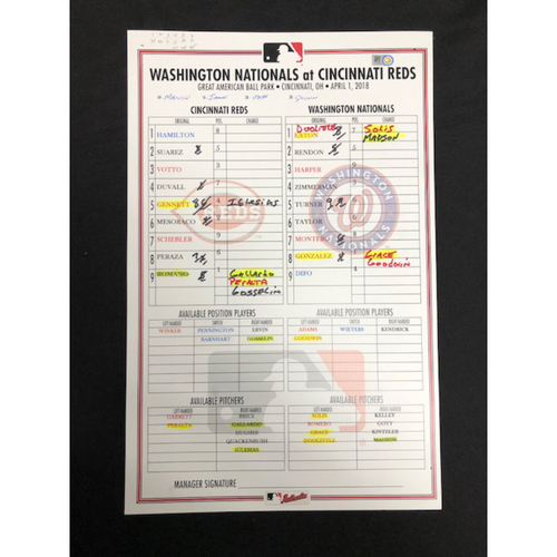 Photo of 4/1/18 Game-Used Reds vs. Nationals Dugout Lineup Card -- Bryce Harper First & Second Home Runs of 2018 Season, Harper's 16th Career Multi-Homer Game