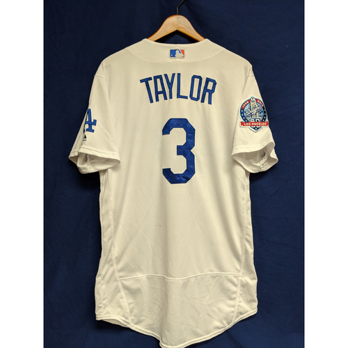 Chris Taylor Game-Used Home Jersey from Regular Season Tie Breaker Game - COL vs LAD - 10/1/18