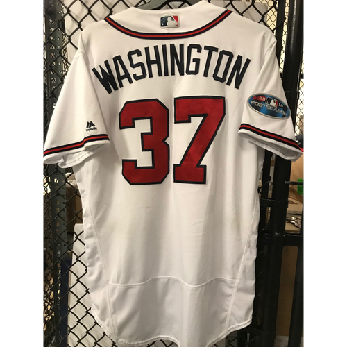 Photo of Ron Washington Game-Used 2018 NLDS Jersey - Worn 10/7/18 and 10/8/18 - First Postseason Game at SunTrust Park