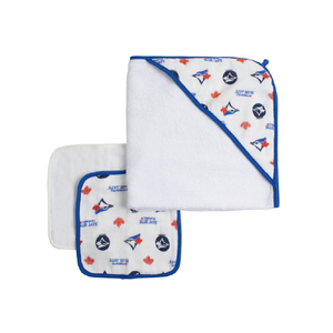 Toronto Blue Jays Hooded Towel and 3 Piece Wash Cloth Set by Snugabye