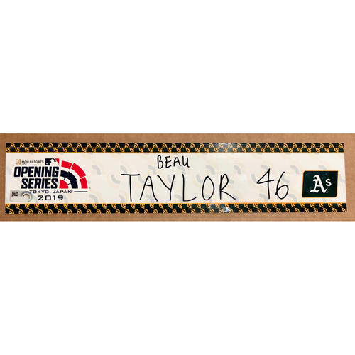 2019 Japan Opening Day Series - Game Used Locker Tag - Beau Taylor -  Oakland Athletics