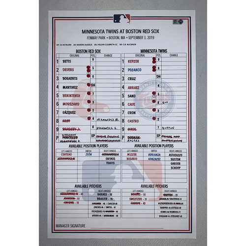 Photo of Boston Red Sox VS Minnesota Twins September 3, 2019 Game Used Lineup Card - Twins Win 6 to 5