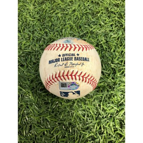 Photo of Game Used Baseball: Ramon Laureano RBI single off Yonny Chirinos - June 12, 2019 v OAK