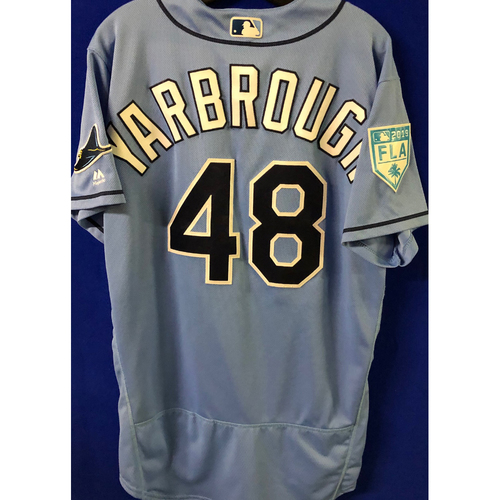 Photo of Game Used Spring Training Jersey: Ryan Yarbrough (W, 4.0 IP, 5 SO) - March 26, 2019 v DET