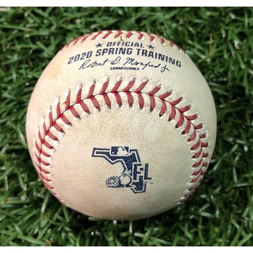 Photo of Spring Training Game Used Baseball: Joey Wendle single off David Hale - February 23, 2020 v NYY