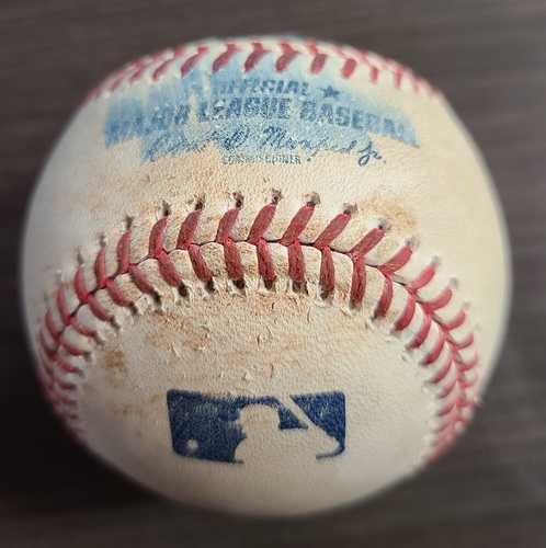 Photo of Authenticated Game Used Baseball: Foul by Danny Jansen against Erasmo Ramirez (Sep 13, 20 vs NYM). Bottom 8. Game played in Buffalo.