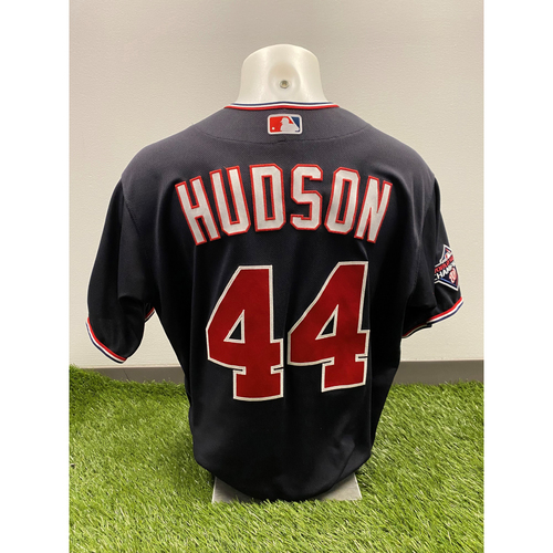 Photo of Daniel Hudson 2020 Game-Used World Series Champions Navy Script Jersey