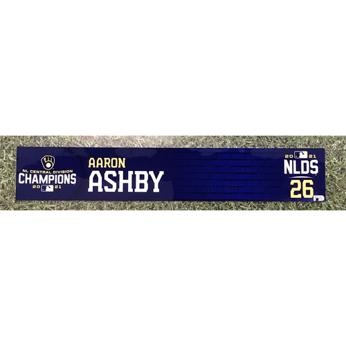Photo of Aaron Ashby 2021 Game-Used NLDS Locker Nameplate