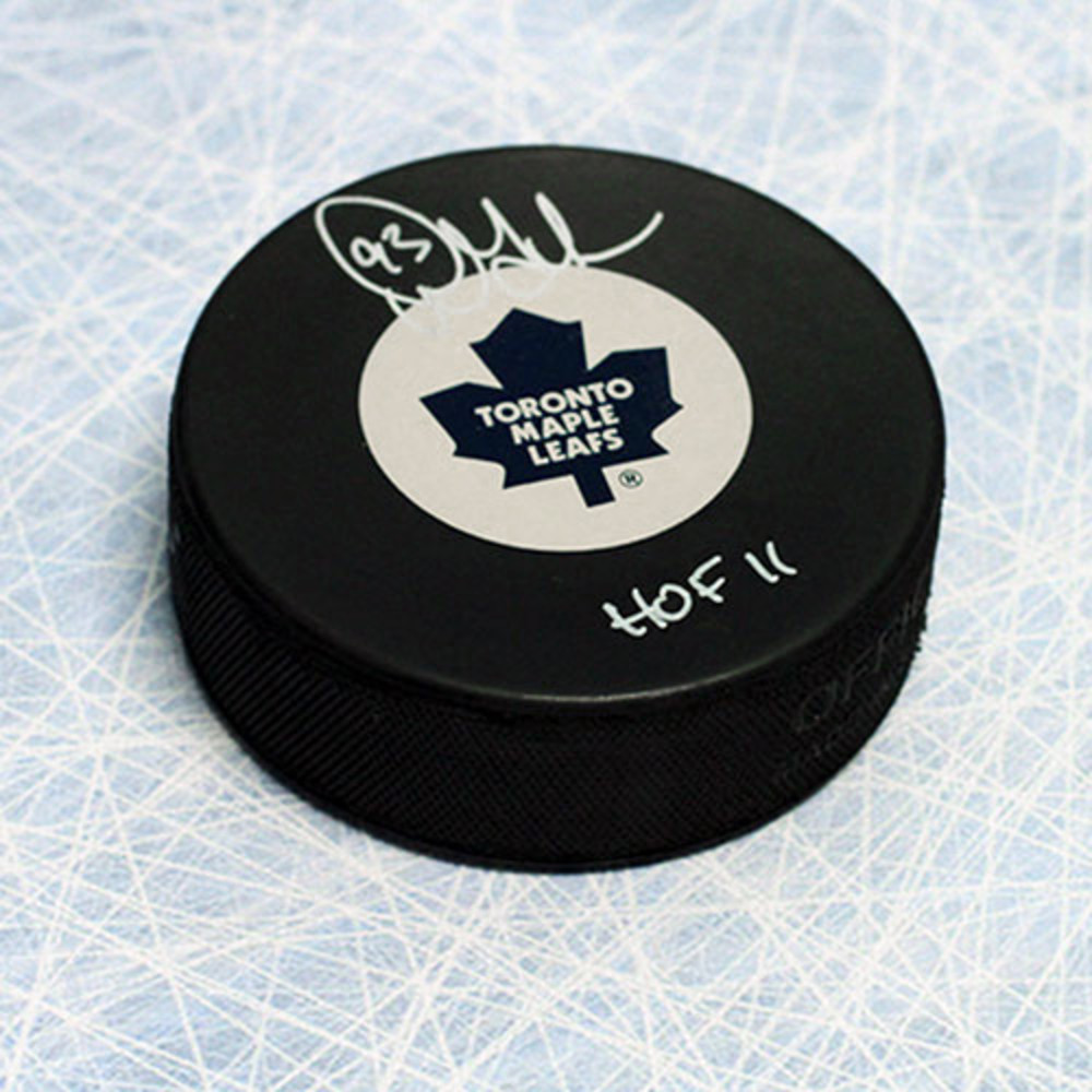 Doug Gilmour Toronto Maple Leafs Autographed Hockey Puck with HOF Inscription
