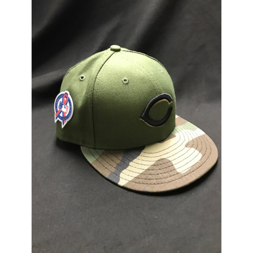 Photo of Tucker Barnhart - Game-Used - Military Appreciation Hat (Worn: 2018) - 6/6 Starting C, Went 1/5; 8/10 Starting C, Went 1/4, 2B, R