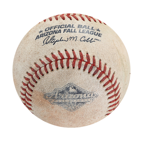 Photo of 2018 Arizona Fall League Game-Used Baseball - Batter: Hudson Potts , Pitcher: Justin Lawrence - Ball