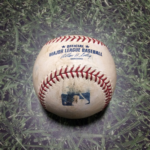 Photo of Game-Used Baseball CHC@MIL 04/08/11 - Randy Wolf - Starlin Castro: Foul