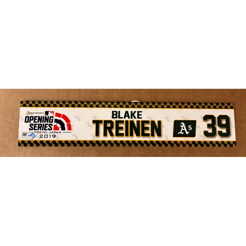 Photo of 2019 Japan Opening Day Series - Game Used Locker Tag - Blake Treinen -  Oakland Athletics