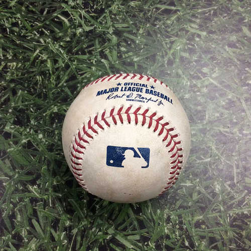 Photo of Game-Used Baseball NYM@MIL 05/03/19 - Josh Hader - J.D. Davis: Strikeout