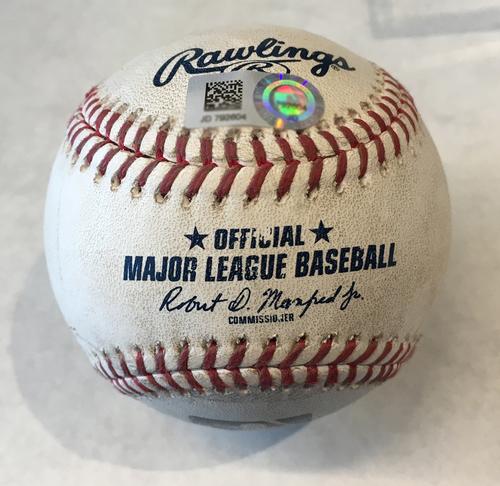 Photo of Game-Used Baseball -- Lucas Giolito to Willson Contreras, Grand Slam, 14th HR of Season, Bot 1 -- White Sox vs. Cubs -- 6/19/19