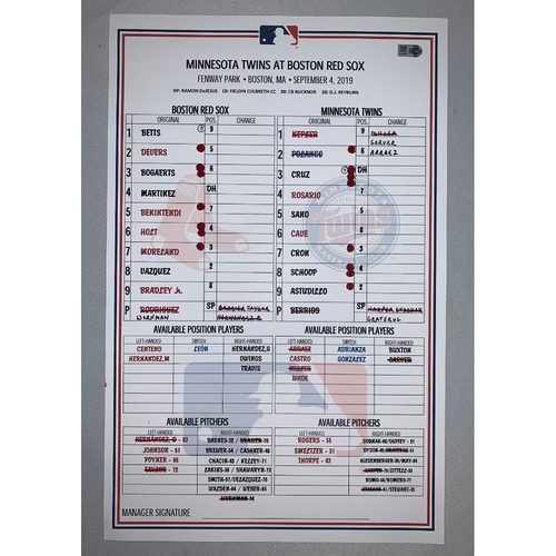 Photo of Boston Red Sox VS Minnesota Twins September 4, 2019 Game Used Lineup Card - Red Sox 6 to 2