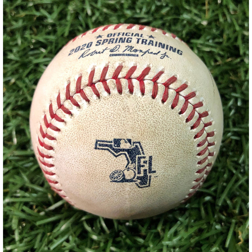 Photo of Spring Training Game Used Baseball: Jonathan Loaisiga strikes out Austin Meadows - February 23, 2020 v NYY