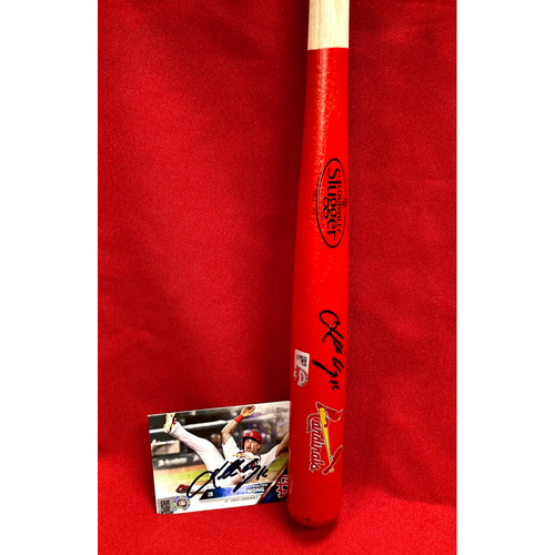 Photo of Kolten Wong Autographed TOPPS Card and Mini Bat