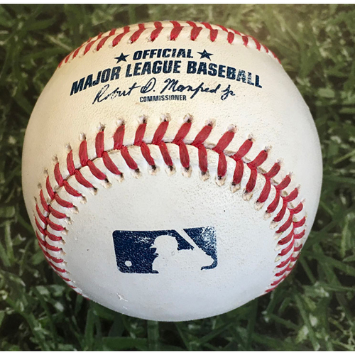 Photo of Game-Used Baseball PIT@MIL 08/29/20 - Nik Turley - Christian Yelich: Double
