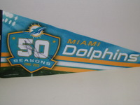 DOLPHINS - OLIVIER VERNON SIGNED DOLPHINS PREMIUM PENNANT (CREASES ON PENNANT)