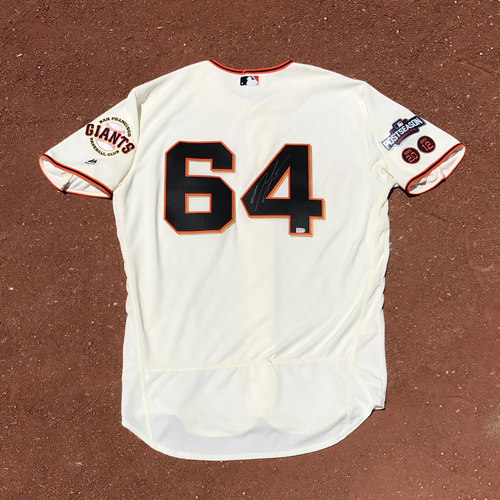 Photo of San Francisco Giants - Player Collected and Autographed Jersey - Derek Law - Jersey Size - 48