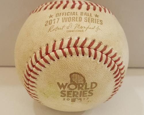Photo of 2017 World Series Game 4: Batter - Marwin Gonzalez, Pitcher - Alex Wood - Bottom 6, Marwin Gonzalez Grounds Out to Third Base
