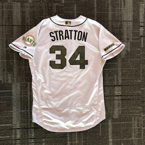 Photo of San Francisco Giants - 2018 Game Used Memorial Day Jersey - worn by #34 Chris Stratton on 5/26 - 5.0 IP, 6 K's WIN, 5/27 & 5/28  - Size 48
