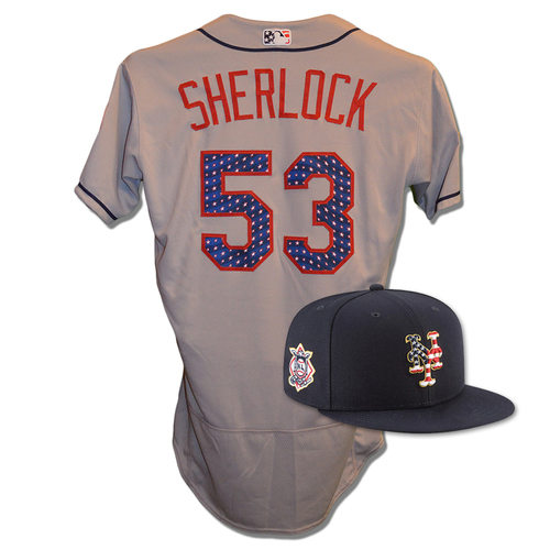 Photo of Glenn Sherlock #53 - Game Used 4th of July Jersey and Hat - Mets vs. Blue Jays - 7/4/18