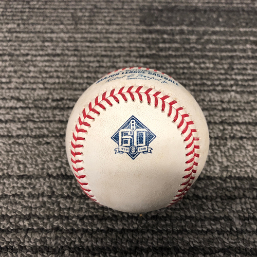 Photo of San Francisco Giants - 2018 Game Used Baseball - 9/28/18 vs. LAD - Madison Bumgarner to Justin Turner - Fly Out to CF & David Freese - Pitch in the Dirt