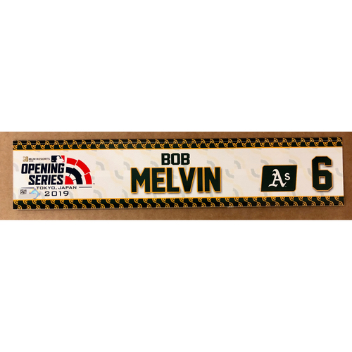 Photo of 2019 Japan Opening Day Series - Game Used Locker Tag - Bob Melvin -  Oakland Athletics