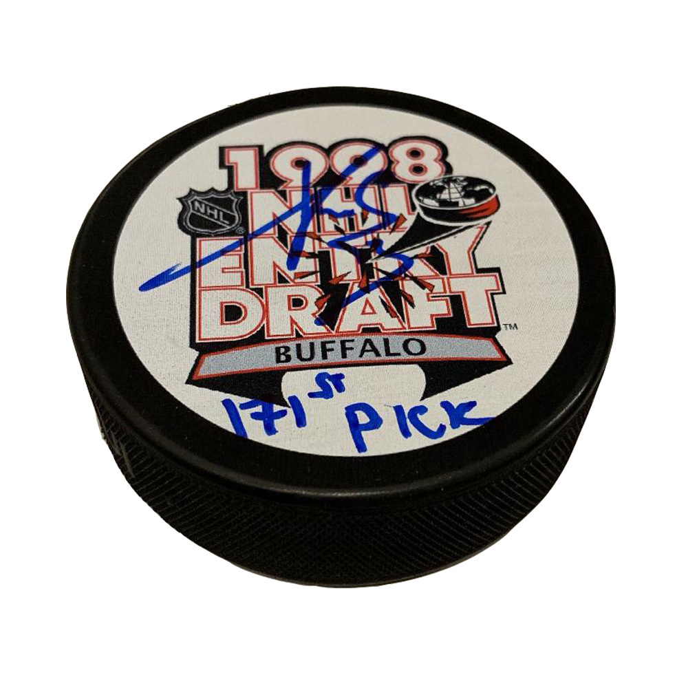 PAVEL DATSYUK Signed Detroit Red Wings 1998 Draft Puck with 171st Inscription