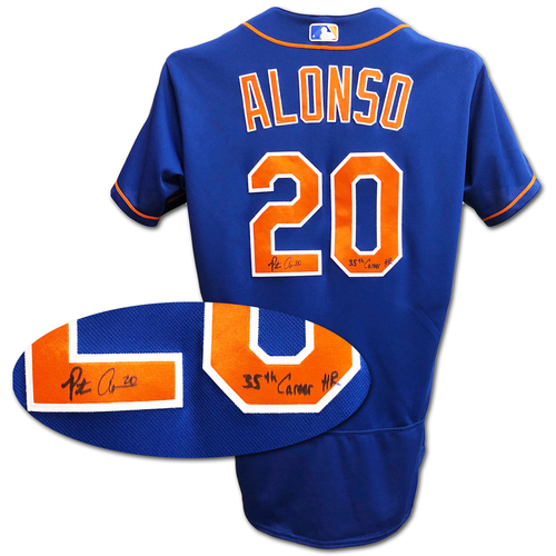 Pete Alonso #20 - Autographed Game Used Blue Alt. Home Jersey - Inscribed