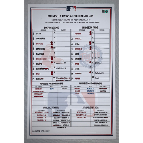 Photo of Boston Red Sox VS Minnesota Twins September 5, 2019 Game Used Lineup Card - Twins Win 2 to 1