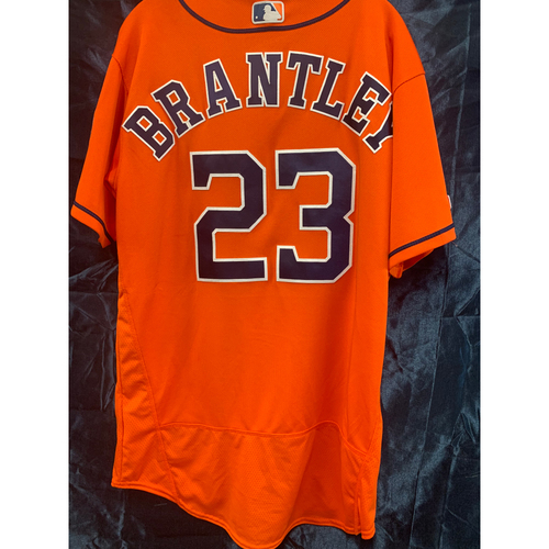 2019 Michael Brantley Game-Used Orange Alt Jersey - Size 46