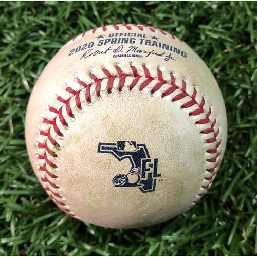 Photo of Spring Training Game Used Baseball: Diego Castillo strikes out Thairo Estrada - February 23, 2020 v NYY
