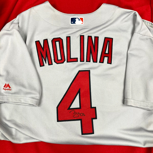 Photo of Yadier Molina Autographed Team Issued Road Jersey (Size 48)