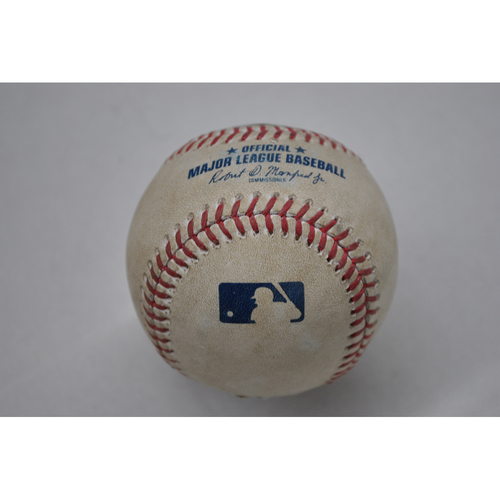Photo of Game-Used Baseball - 2020 ALCS - Tampa Bay Rays vs. Houston Astros - Game 5 - Pitcher: Josh James, Batter: Ji-Man Choi (Home Run to RF) - Top 8