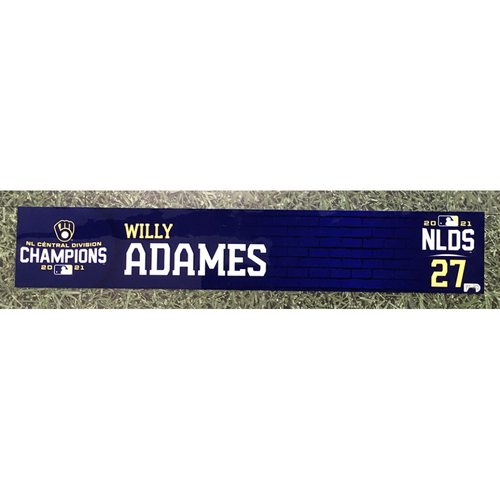 Photo of Willy Adames 2021 Game-Used NLDS Locker Nameplate