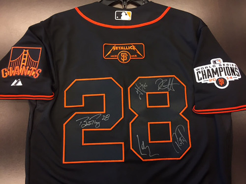 7b0c2805a GCF Auction  Posey   Metallica Autographed  28 Giants Black Jersey