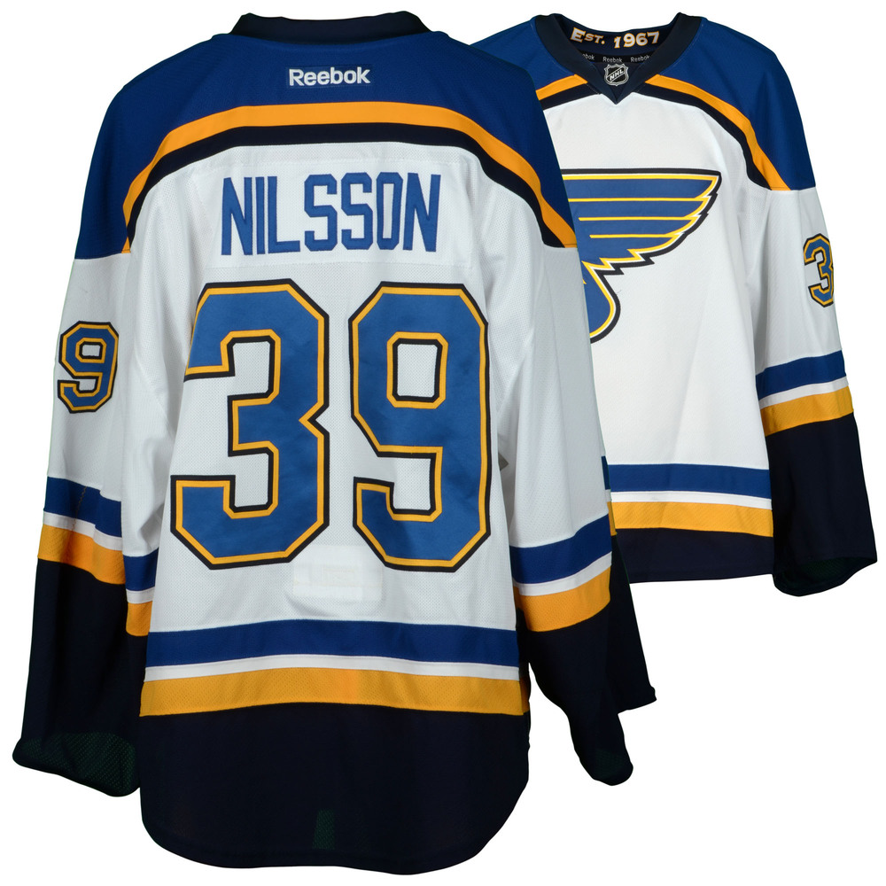 Anders Nilsson St. Louis Blues Game-Used 2015-16 Set 3 Road White Jersey - Worn from February 4, 2016 Through April 3, 2016