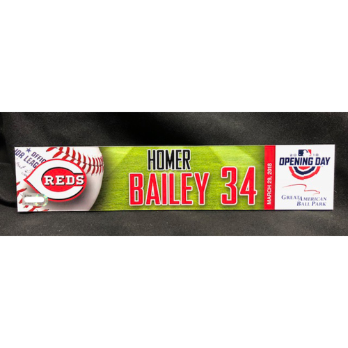 Photo of Homer Bailey Opening Day Locker Name Plate -- Reds Opening Day Starting Pitcher -- WSH vs. CIN on 3/30/18