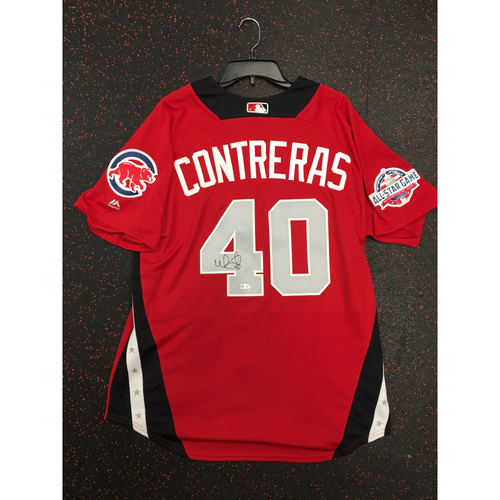 Photo of Willson Contreras 2018 Major League Baseball Workout Day Autographed Jersey