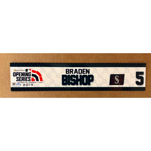 Photo of 2019 Japan Opening Day Series - Game Used Locker Tag - Braden Bishop -  Seattle Mariners