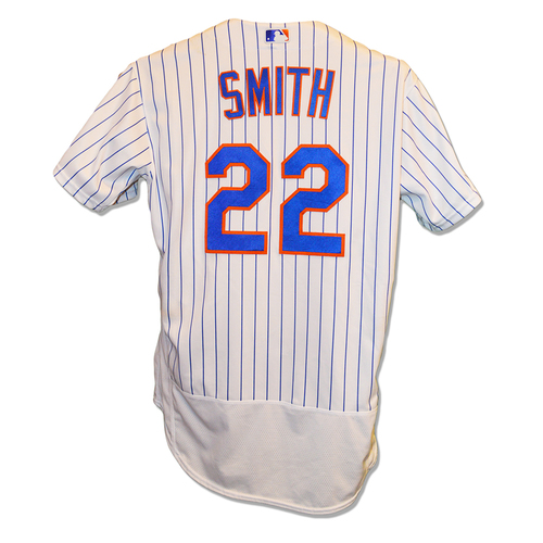 Photo of Dominic Smith #22 - Game Used White Pinstripe Jersey - Mets vs. Yankees/Mets vs. Diamondbacks - 8/16/2017 & 8/24/2017