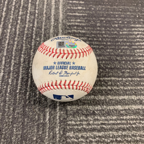 Photo of 2019 Game Used Baseball vs. Milwaukee Brewers - 6/16/19 - B-1: Chase Anderson to Buster Posey - Walk & Brandon Belt - Ball 1